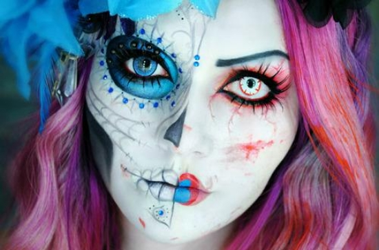pink-blue-halloween-Makeup-ideas-women-1
